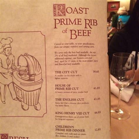 house of prime rib menu the house of prime rib menu yelp