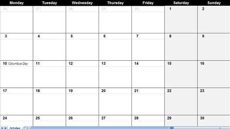 best large calendar templates weekly calendar template