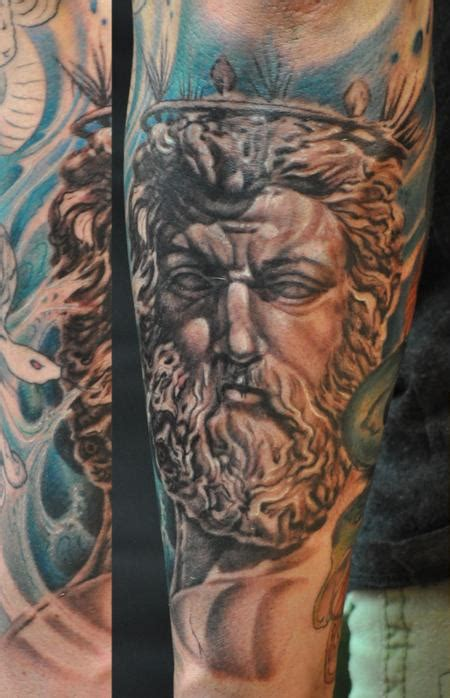 poseidon tattoo designs ares god of war statue portrait sleeve by roly