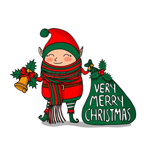 christmas elf  white background stock vector illustration  isolated december