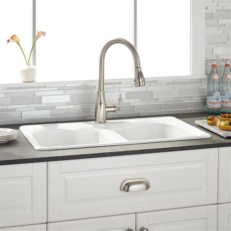 two sinks one drain 32 quot berwick white double bowl cast iron drop in kitchen