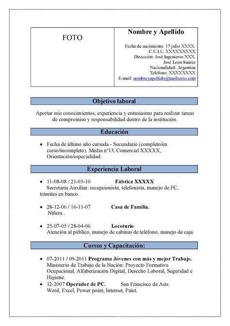 Modelo Curriculum Vitae Resumen Modelo Cv Con Tablas Operador De Pc