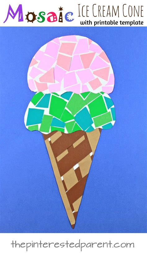 pattern construction paper printable paper mosaic ice cream cone the pinterested parent