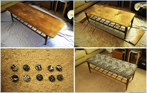 turn a coffee table into a bench how to turn an ugly coffee table into an upholstered bench
