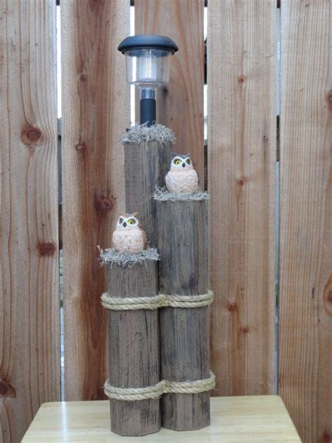 Wooden Post Decor With Solar Light And Owls Outdoor Wooden Solar Lights
