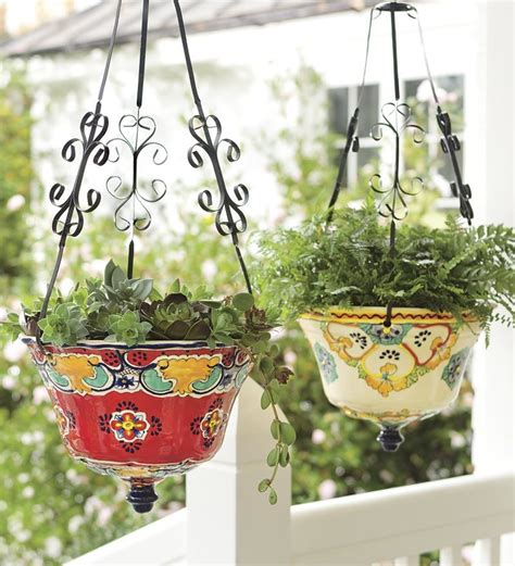 hanging ceramic planter hanging talavera ceramic planter planters plow hearth