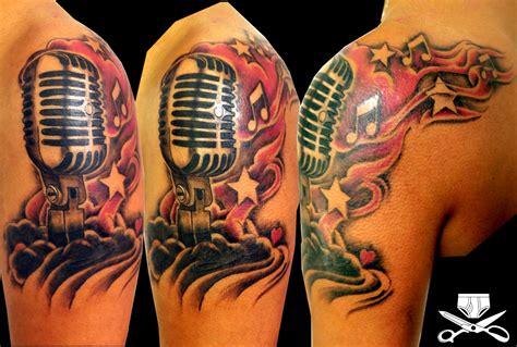 Microphone Tattoo Cover Up | musical microphone tattoo hautedraws
