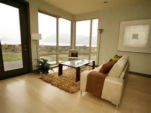 contemporary living room focuses on view with large