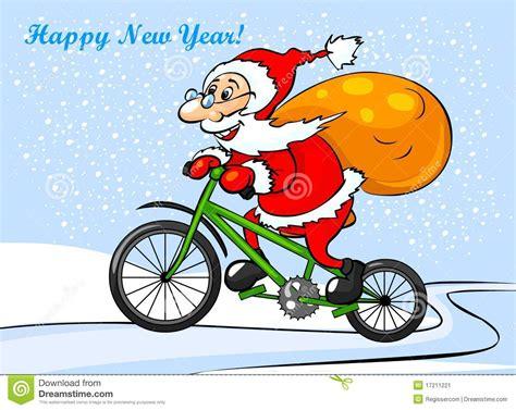 imagenes de santa claus en bicicleta santa claus is riding on a bike stock illustration