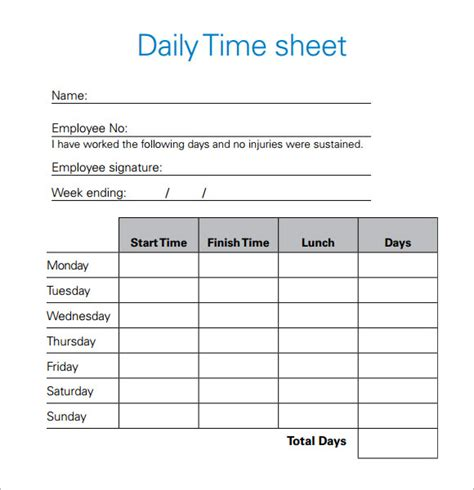 Daily Timesheet Template 10 Free Download For Pdf Excel Daily Timesheet Template Xls