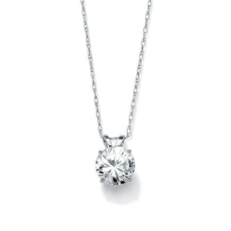 1.25 TCW Round Cubic Zirconia Solitaire Pendant Necklace