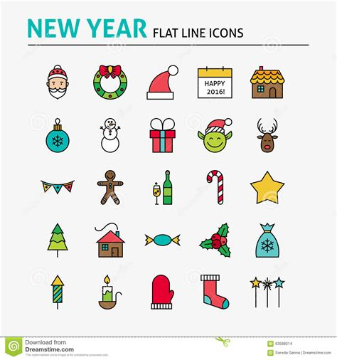 happy new year colorful flat line icons set stock vector