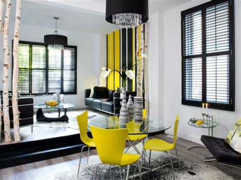 yellow black and white living room contemporary dining and livingroom with black grey and