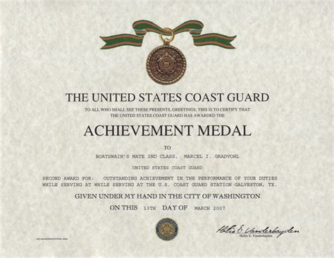 army achievement medal certificate coast guard achievement medal replacement certificate
