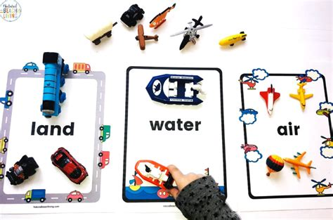 preschool transportation theme printables sorting land air water transport living