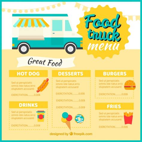 Classic Food Truck Menu Template Vector Free Download Food Truck Menu Template