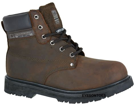 mens safety leather ankle new steel toe cap boots work
