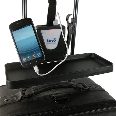 detachable luggage tray shelf desk with battery charger by