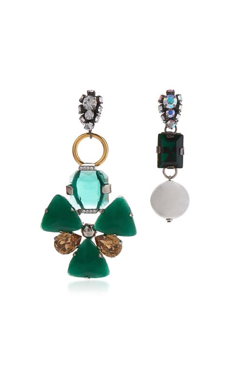 Asymmetric Earring lyst marni asymmetrical earrings with strass in green in