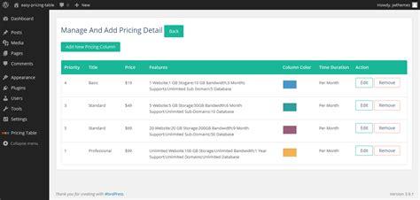 wordpress layout table easy pricing table plugin creates beautiful responsive