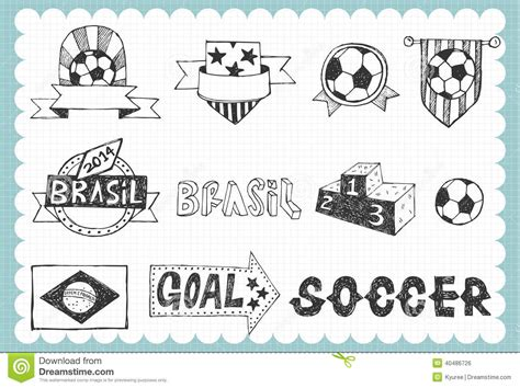 doodle football world cup set a stock vector image 40486726