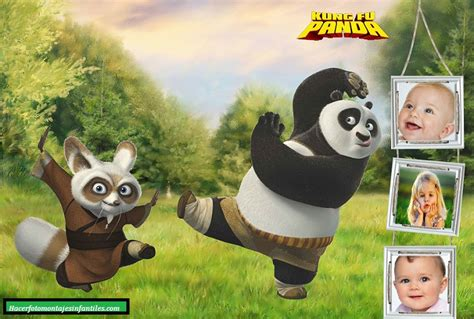 imagenes de cumpleaños kung fu panda fotomontaje de kung fu panda para tres fotos