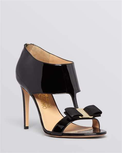 black open toe high heels ferragamo open toe sandals pellas high heel in black lyst