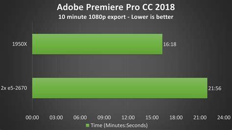adobe premiere pro gpu benchmark 2x intel xeon e5 2670 vs amd 1950x threadripper cpu