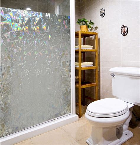 privacy sticker for bathroom window waterproof bathroom pvc 3d laser static cling privacy