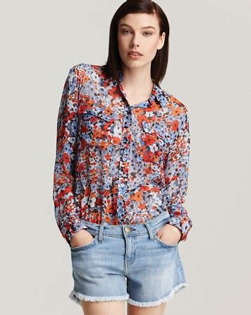 Blue Flower Blouse Point One equipment signature floral blouse blouse with