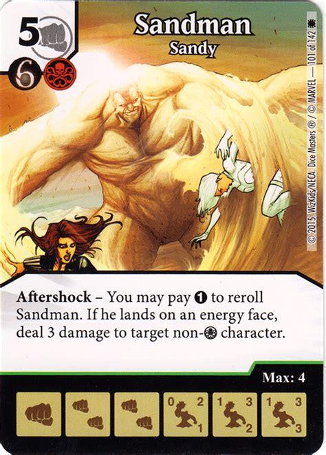 printable dice masters cards marvel dice masters the amazing spiderman sandman