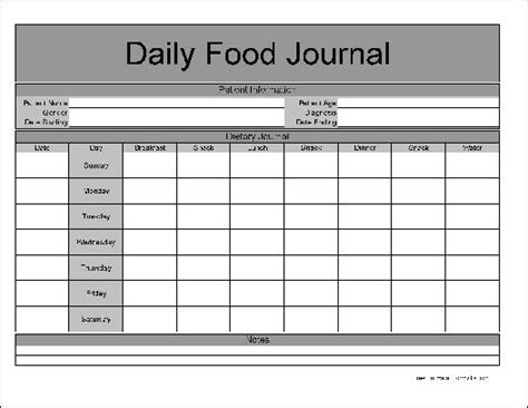 printable daily journal sheets 9 best images of printable 7 day food journal free