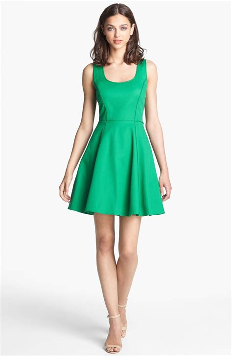 Flare Dress by Lyst Lace Back Fit Flare Dress In Green