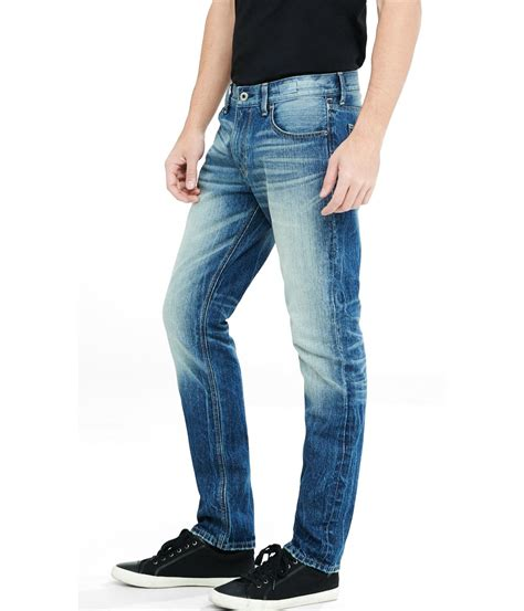 Slim Fit Black Leg By Express express faded slim fit leg jean in blue for lyst