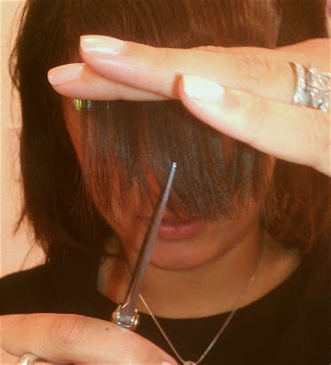 trimming bangs at an angle cut will blog for beauty bang trim tutorial how to cut your