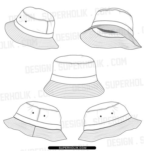 bucket hat coloring page bucket hat template fashion vector templates pinterest