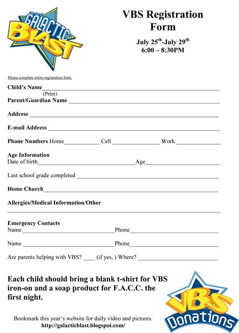free registration form template free vbs registration form template vbs