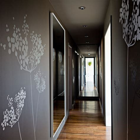grey wallpaper hallway ideas save on energy costs with mirrors