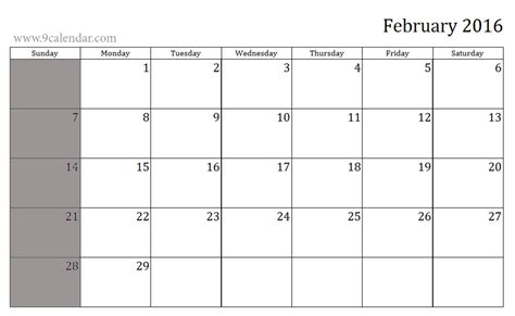 printable weekly calendar february 2016 8 best images of free printable jan feb mar 2016 blank