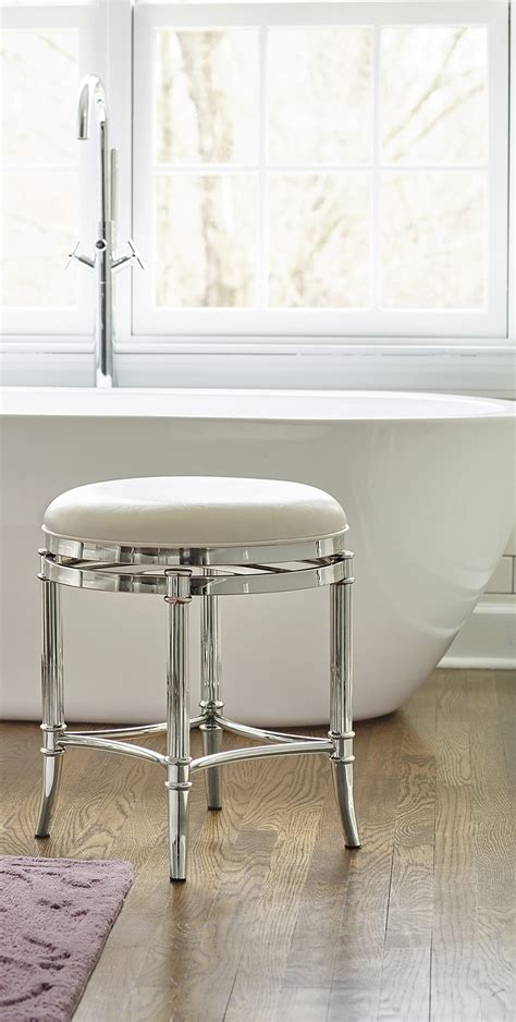 Polished Chrome Vanity Stool by Bailey Vanity Stool Spa Style Vanity Stool