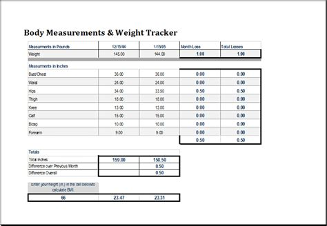 body measurement and weight tracker word excel templates