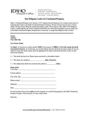 Letter Of Intent Due Diligence unclaimed property letter template letter template 2017