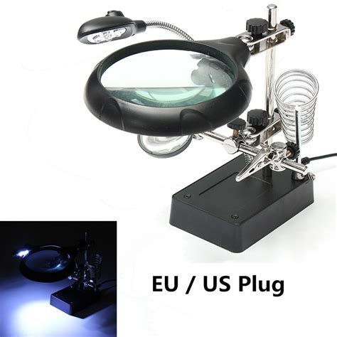 Helping With Soldering Stand 5 led light magnifier magnifying glass helping