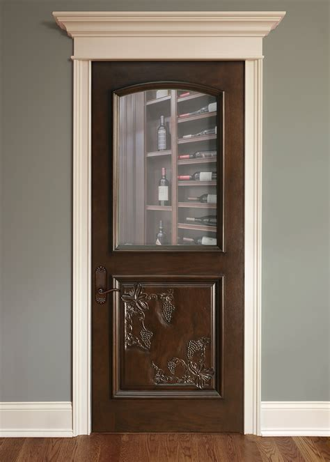 Wood Interior Doors With Glass Interior Door Custom Single Solid Wood With Walnut Finish Wine Cellar Model Dbi 711hcr