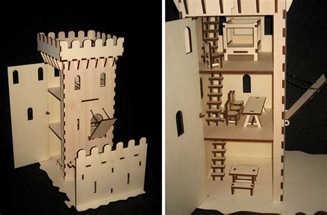Awesome Laser Cut Castle Under Attack Features Working Catapult Trebuchet Laser Cut House Template