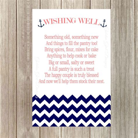 Wedding Wishes Nautical by Instant Upload Wishing Well Printable Cards With Anchor