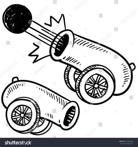 doodle gunpowder doodle style style cannon sketch stock vector