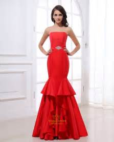red mermaid style prom dresses strapless red mermaid prom