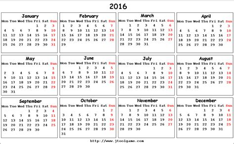 printable calendar week beginning monday 2016 calendar printable calendar 2016 calendar in