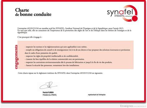 Lettre De Recommandation Bonne Conduite Synafel Charte De Bonne Conduite
